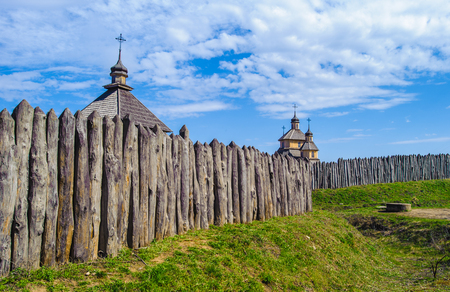 Wooden fence around the Zaporozhian Sich, which established on the Island of Small Khortytsia in 1552