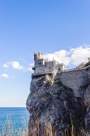 The Swallows Nest, a decorative castle located between Yalta and Alupka on the Crimean peninsula in southern Ukraine. It was built between 1911 and 1912 in Gaspra, on top of 40-metre high Aurora Cliff, to a Neo-Gothic design Editorial