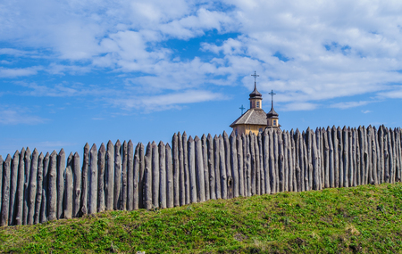 Fence and a tower of the reconstructed Zaporozhian Sich Stock Photo