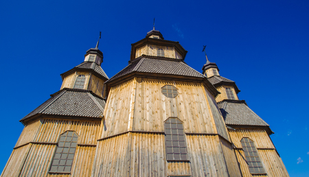 Wooden orthodox church in the middle of the Zaporozhian Sich, Hortisia Island