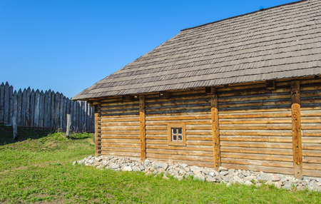 Restaured house where the Ukrainian cossacks lived, Hostitsia, Ukraine