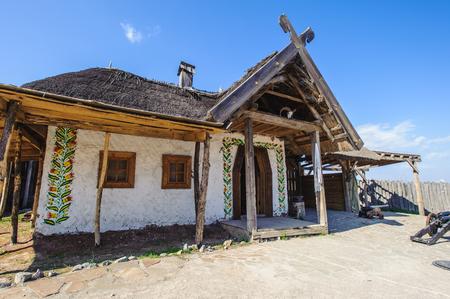 Restaured house where the Ukrainian cossacks lived, Hostitsia, Ukraine