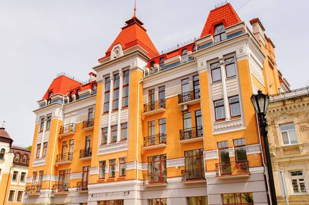 Expensive building with red roof Stock Photo