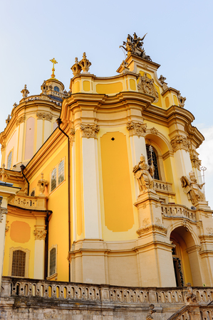 Front part of the St. Georges Cathedral, a baroque-rococo cathedral in the city of Lviv, the historic capital of western Ukraine. Stock Photo