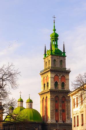 The Dormition or Assumption Church, the main Orthodox church in the city of Lviv, Ukraine.