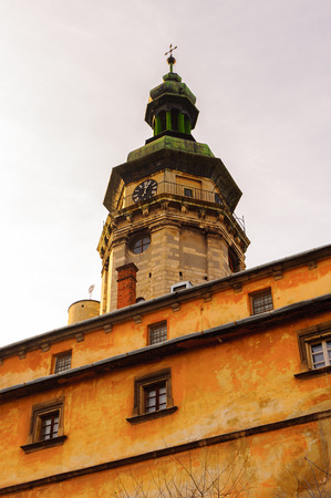 Belltower of the Bernardine church, Old Town, Historic Centre of Lviv, Ukraine. Stock Photo