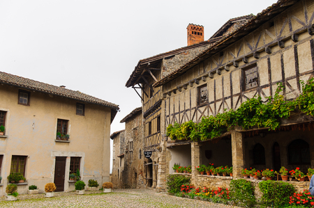 Perouges, France, a medieval walled town, a popular touristic attraction.