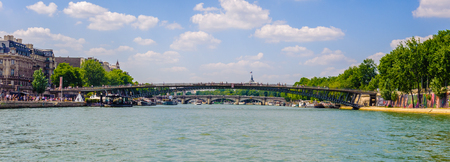 Passerelle Leopold-Sedar-Senghor, (or pont de Solférino), is a footbridge over the River Seine in the VIIe arrondissement of Paris. It is served by the Metro station Assemblee Nationale. Stock Photo