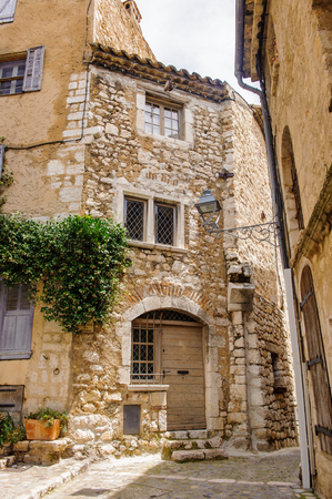 Close view of the house in Saint Paul de Vence, medieval town in France