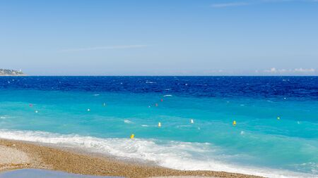 Mediterranea sea coast in Nice, Promenade des Anglais, France. Nice is the capital of the Alpes Maritimes departement