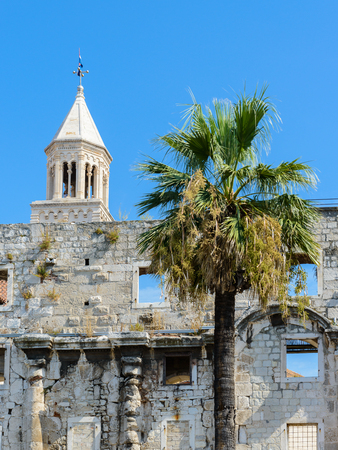 Bell tower of the Cathedral of Saint Domnius, he Catholic cathedral in Split, Croatia. Редакционное