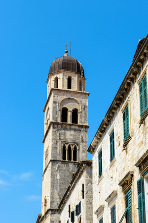 Franciscan monastery bell tower in Dubrovnik, Croatia 스톡 콘텐츠