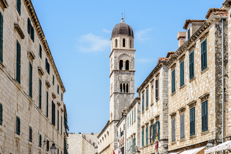 Franciscan monastery bell tower in Dubrovnik, Croatia Stock Photo
