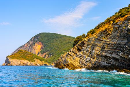 Coast of the Adriatic sea of Montenegro. Panoramic view