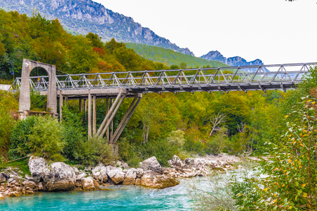 Scepan Polje Bridge, a border crossing point between Montenegro and Bosnia and Herzegovina, where the River Drina forms the border between the two countries.