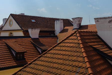Orange roof houses in Prague 에디토리얼
