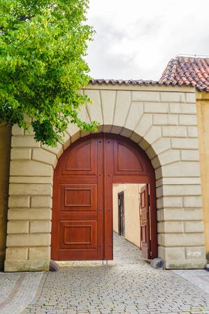 Ancient red door Stock Photo
