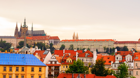 Cityscape of Prague during the sunset