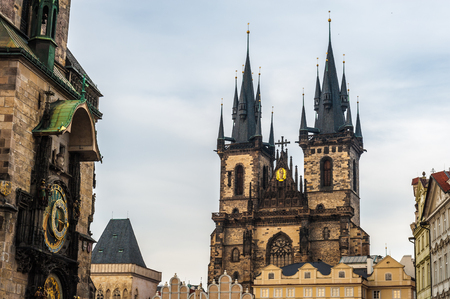 Old Town Square featuring Church of Our Lady before Týn and Old Town City Hall with Prague Orloj, Prague. Czech Republic