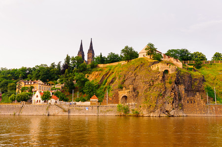 Spectacular view on the hill with castle and tunnel in Prague, Czech Republic