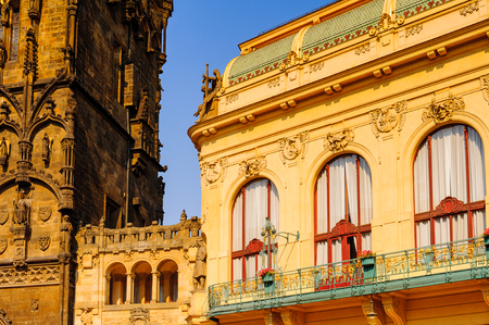 Architecture of the Historical center of Old City of Prague, Czech Republic Stock Photo
