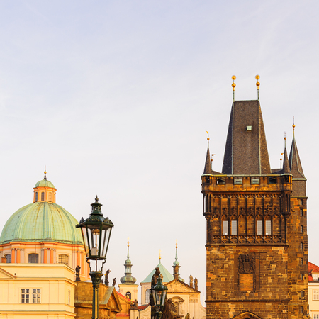 Tower of the Charles Bridge, a famous historic bridge that crosses the Vltava river in Prague, Czech Republic.