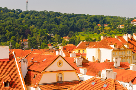 Amazing landscape of the orange roofs of Prague, capital of the Czech Republic Stock Photo