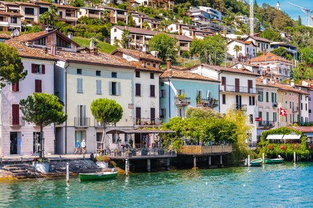 Morcote, a municipality in the Swiss canton of Ticino, Lake Lugano. Famous by small alleys, the arcades of old Patrician homes, valuable architectural monuments