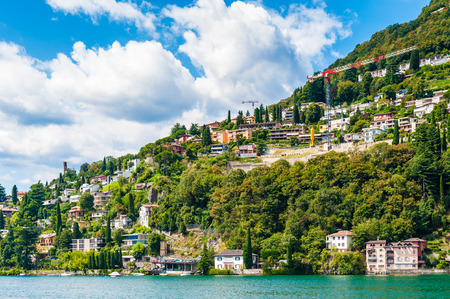 Part of Lugano city on the mountain Bre, Switzerland