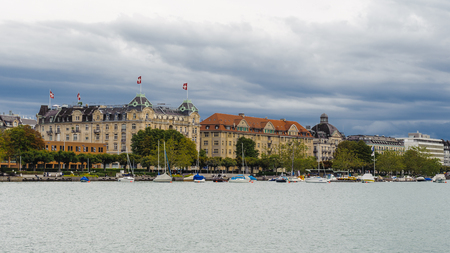 Bank of the lake of Zurich, architecture of Zurich, Switzerland