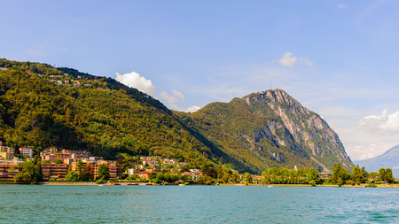 Lake Lugano, a glacial lake situated on the border between south-east Switzerland and Italy.