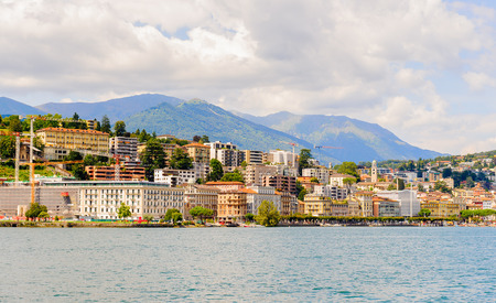 Lugano, a city in the south of Switzerland, in the Italian-speaking canton of Ticino Stock Photo