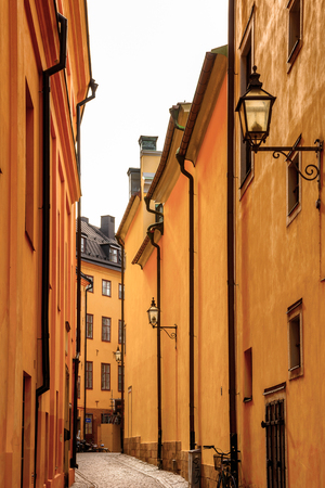 Architecture of the Old Town (Gamla Stan) of Stockholm, Sweden Stock Photo