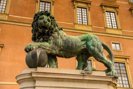 Lion statue at the Royal palace of Stockholm, Sweden