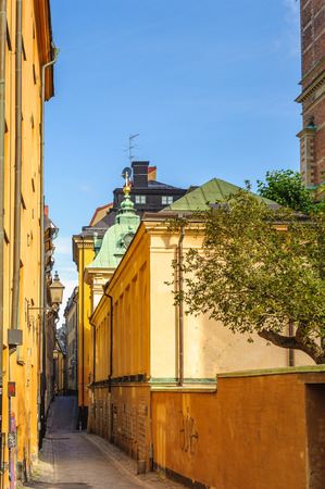 Architecture of the Gamla stan (The Old Town), until 1980 officially Staden mellan broarna (The Town between the Bridges), is the old town of Stockholm, Sweden. Stock Photo