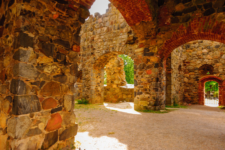St. Olofs church in ruins, Sigtuna, Sweden Stock Photo