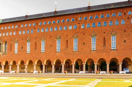 Interior yard of the City Hall of Stockholm, Sweden Foto de archivo