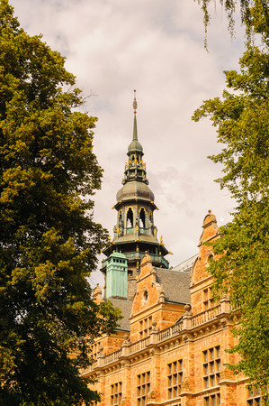 Nordic Museum and the nature of summer Sweden Stock Photo