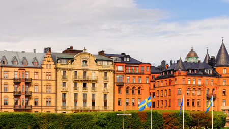 Yellow and red architecture of the capital of Sweden, Stockholm Stock Photo