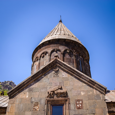 Monastery of Geghard, unique architectural construction in the Kotayk province of Armenia. Editorial