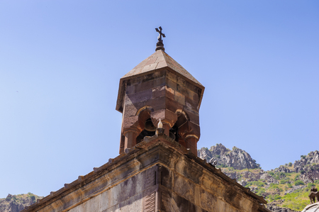 Monastery of Geghard, unique architectural construction in the Kotayk province of Armenia. Stock Photo