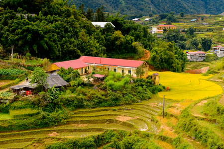 Nature and beautiful mountain view of the village of Catcat, Vietnam Imagens
