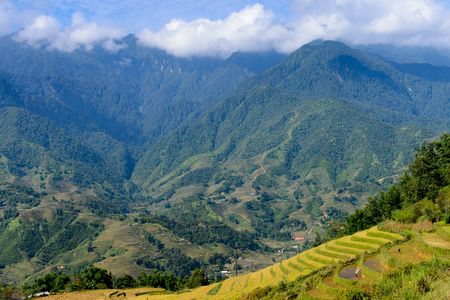 Rice terraces on the mountain hills in the Northern Vietnam Stock Photo