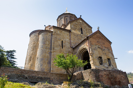 Metekhi Church on the elevated cliff that overlooks the Mtkvari river.