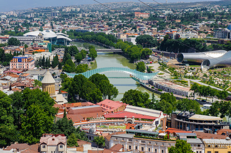 Panoramic view of Tbilisi, Georgia. Tbilisi is the capital and the largest city of Geogia with 1,5 mln people population