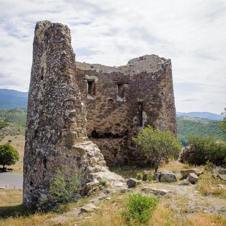 Wall of the Jvari Monastery, Georgian Orthodox monastery of the 6th century on the mountain hill ove the old town of Mtskheta (UNESCO World Heritage site) Stock Photo