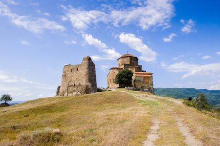 Part of the Jvari Monastery, Georgian Orthodox monastery of the 6th century on the mountain hill ove the old town of Mtskheta Stock Photo