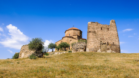 Jvari Monastery, Georgian Orthodox monastery of the 6th century on the mountain hill ove the old town of Mtskheta
