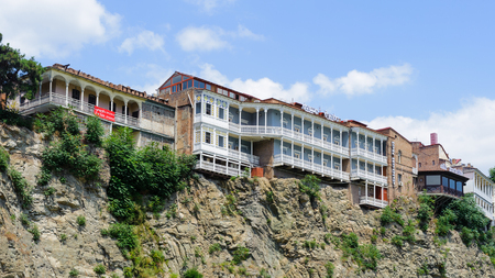 Hotel and restaurant on the hill over the river Mthari in Tbilisi 報道画像