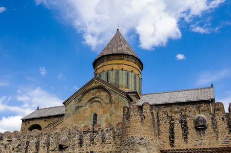 Svetitskhoveli Cathedral (Living Pillar Cathedral), a Georgian Orthodox cathedral located in the historical town of Mtskheta, Georgia. Stock Photo